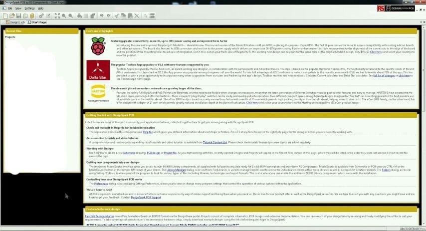 DesignSpark PCB start screen