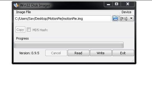 Win32DiskImager load image