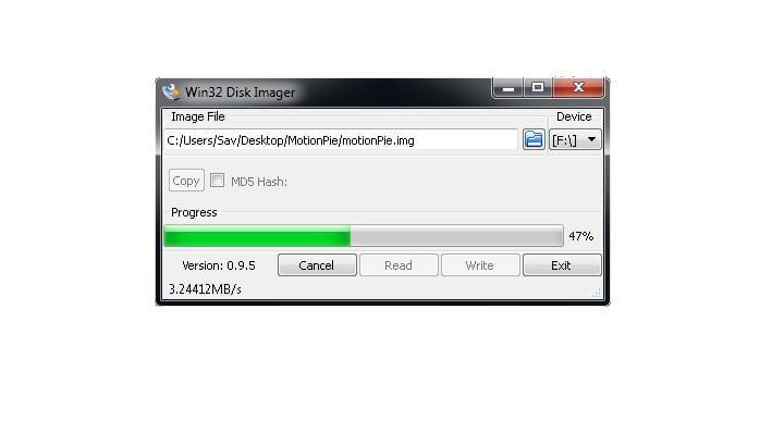 Win32DiskImager progress bar