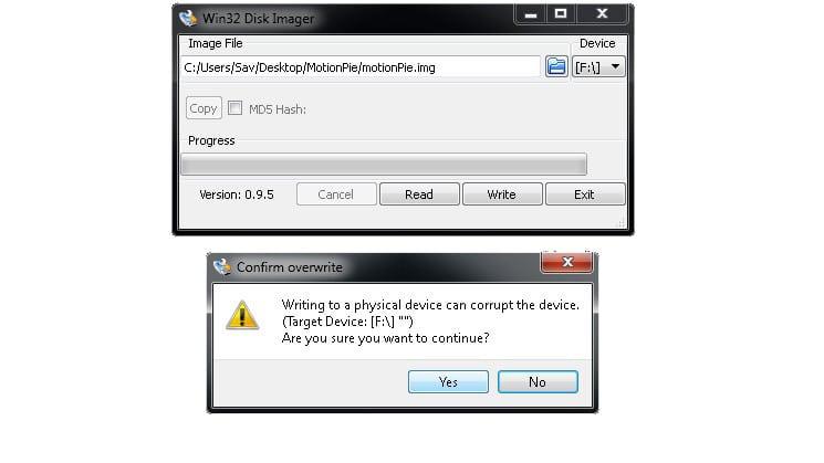 Win32DiskImager Warning