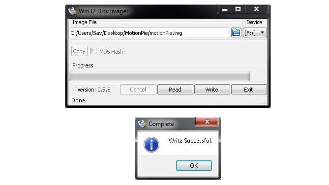 Win32DiskImager complete