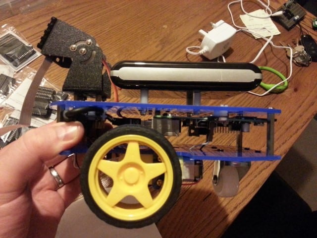Power bank mounted on top of a Raspberry Pi robot