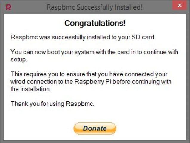 RaspBMC Confirmation