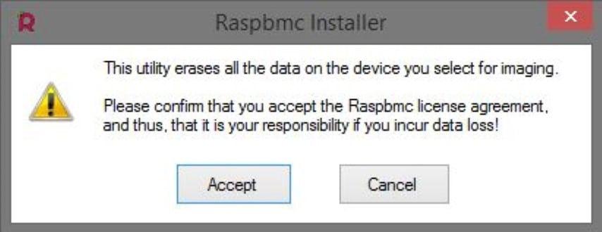 RaspBMC Installer Warning