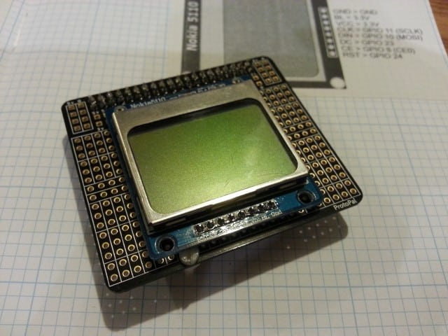 Nokia 5110 screen on a ProtoPal Board