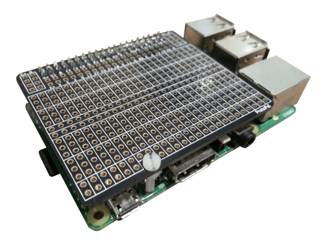 The ProtoPal fitted to a B+ Raspberry Pi