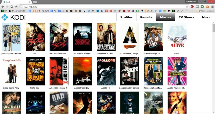 Browser used as a remote for Kodi, displaying movies