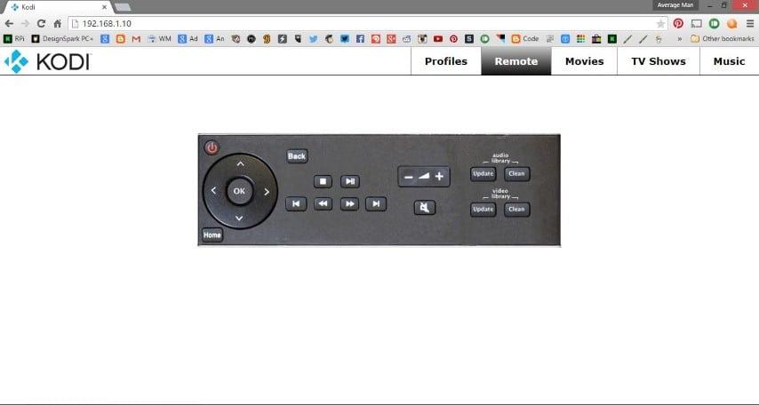 Kodi browser remote control