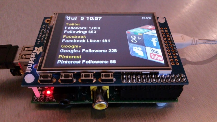 Raspberry Pi social network monitor