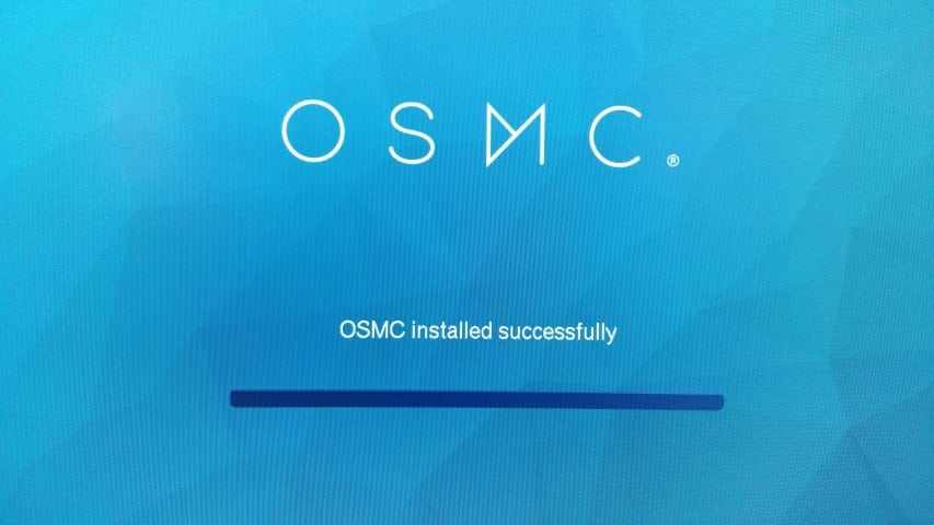 OSMC installed successfully screen