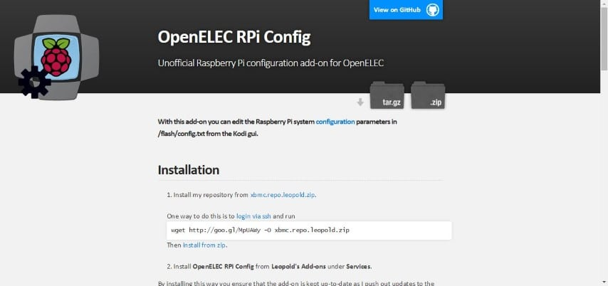 The OpenELEC RPi Config page