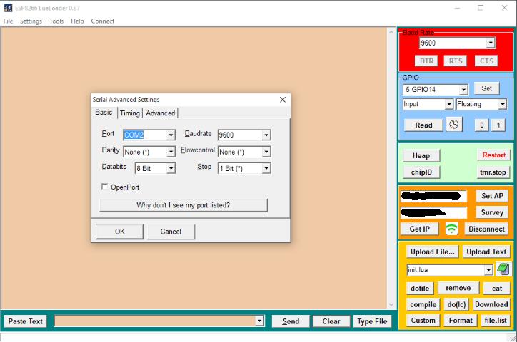 serial settings