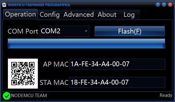 Node MCU Firmware Update success