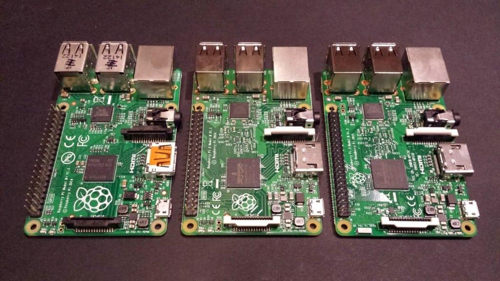 A Raspberry Pi B+, Pi 2 and Pi 3