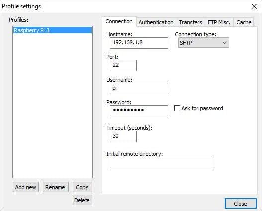 Raspberry Pi 3 profile settings
