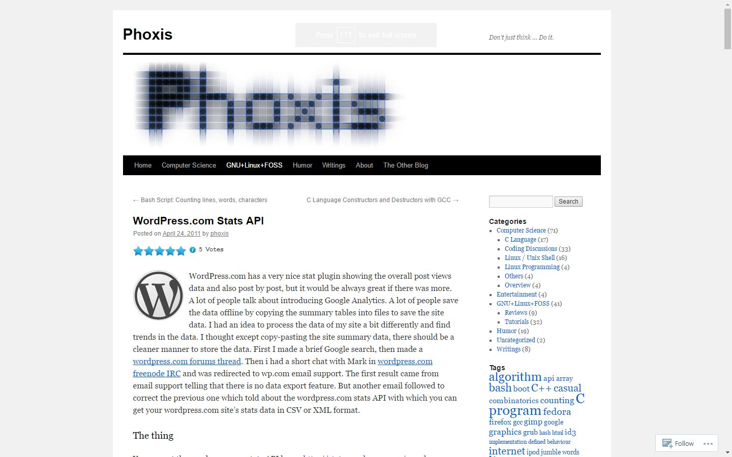phoxis.org WordPress API