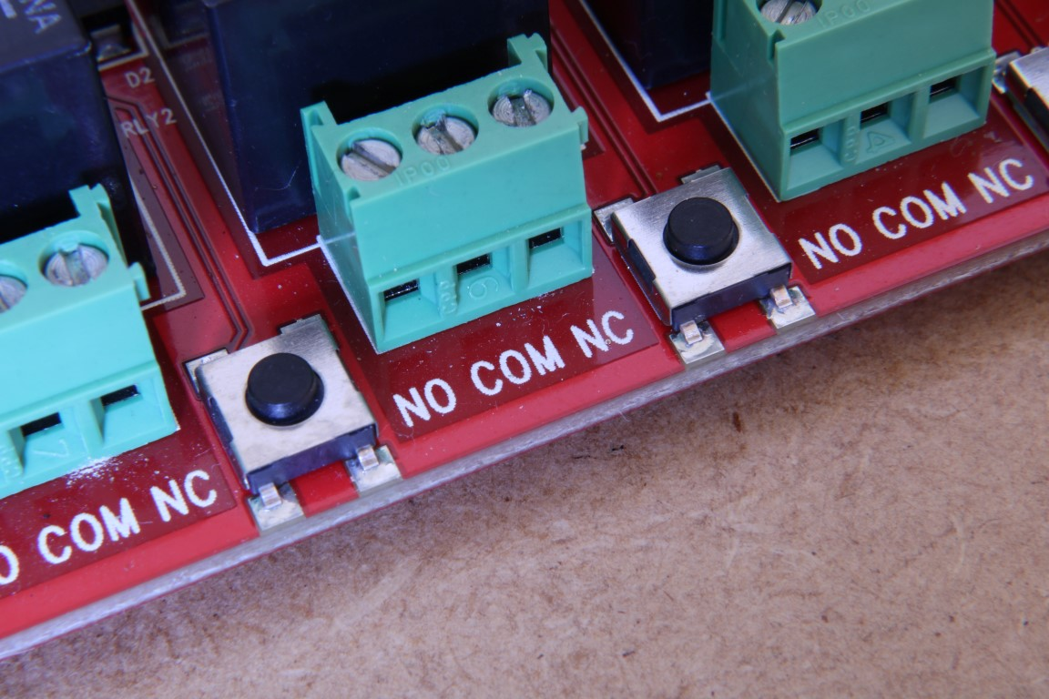 Relay board control buttons