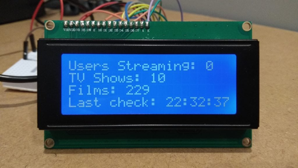 Raspberry Pi Plex Server Monitor 20x4