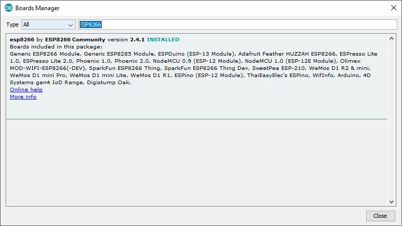 ESp8266 Board Manager window