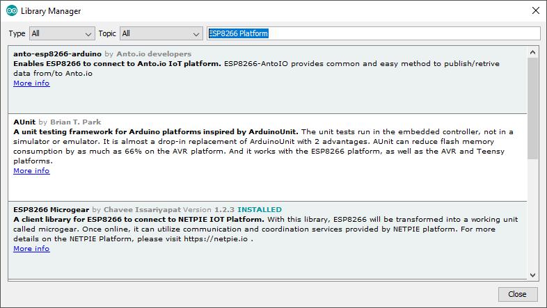 ESP8266 Microgear library window
