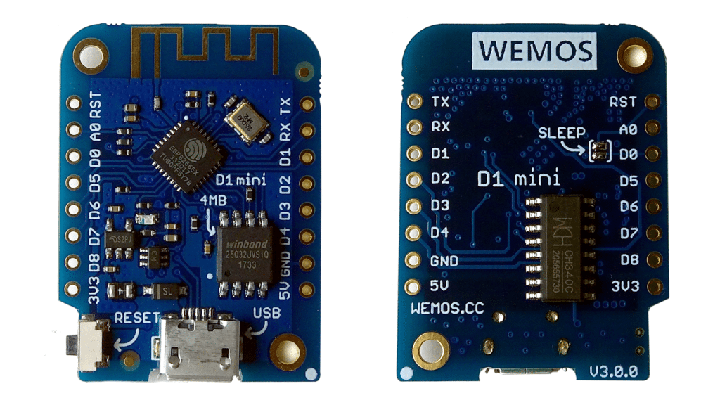 Wemos D1 Mini front and rear