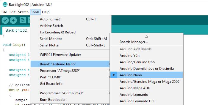 Arduino IDE Select Board