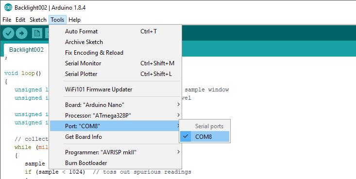 Arduino IDE COM selection