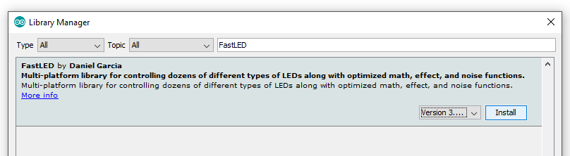 Arduino IDE Fast LED