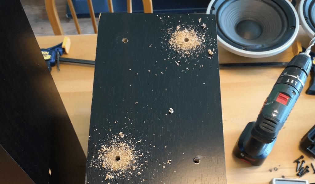 Speaker holes drilled