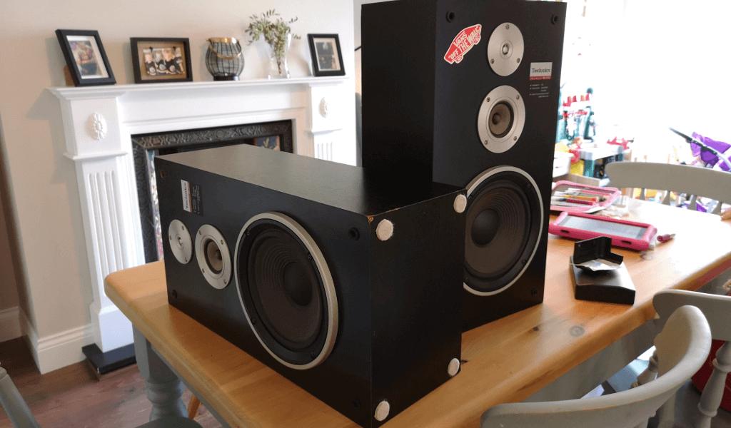 Speakers on table